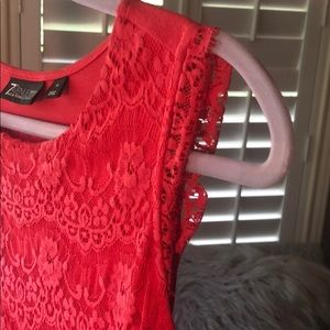 New York & Company Tops - New York & Company Coral lace overlay top